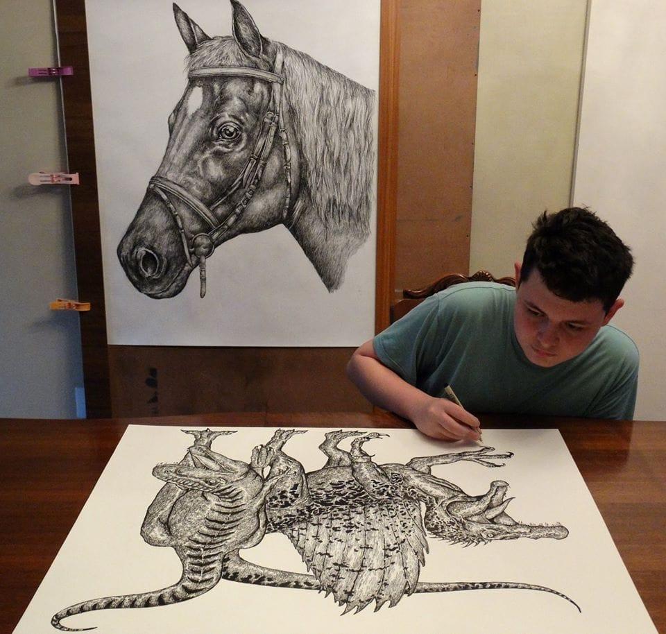 44318086 1968883903409109 7752108007239974912 n - Этот сербский мальчик с 2 лет мечтал быть художником. Сейчас ему 16, и прогресс просто поразительный