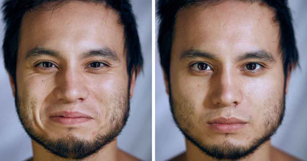 Фотограф сравнил, как выглядят лица людей, когда они позируют в одежде и без неё