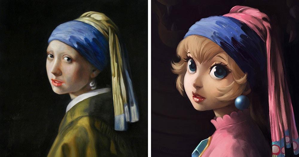 Художница представила, как выглядели бы известные картины, будь на них персонажи мультфильмов и видеоигр