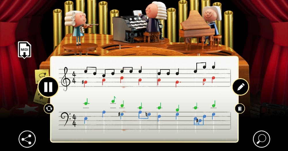 Гугл представил дудл-игру, в которой каждый может писать музыку. И идеальный слух для этого не нужен