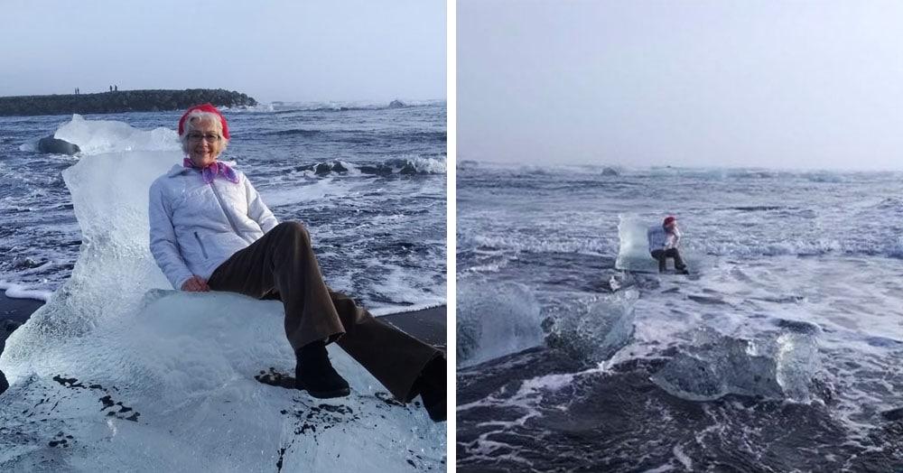 Бабуля увидела на берегу трон из льдины и решила на нём попозировать. Вот только Посейдон был против