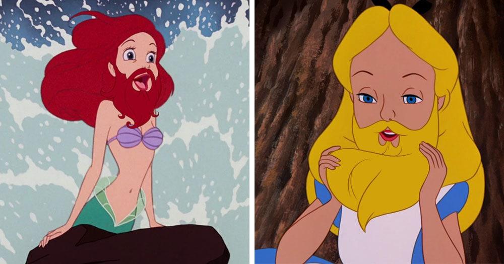 Художник представил, как выглядели бы героини Диснея, будь у них густые, шелковистые бороды