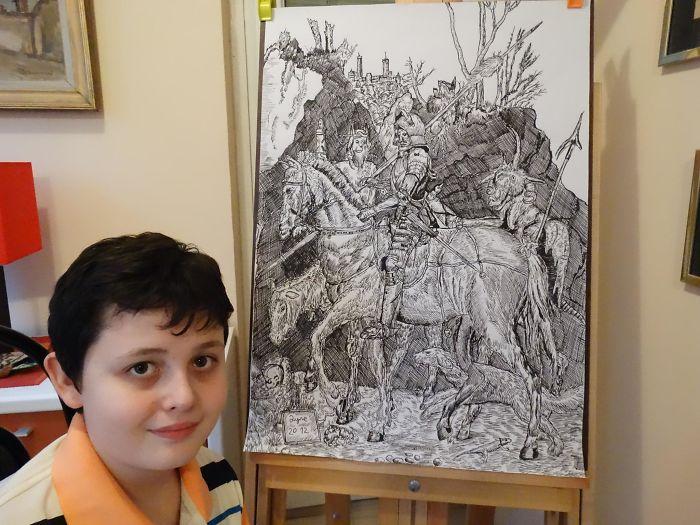 my works 5c78f14bb1399  700 - Этот сербский мальчик с 2 лет мечтал быть художником. Сейчас ему 16, и прогресс просто поразительный