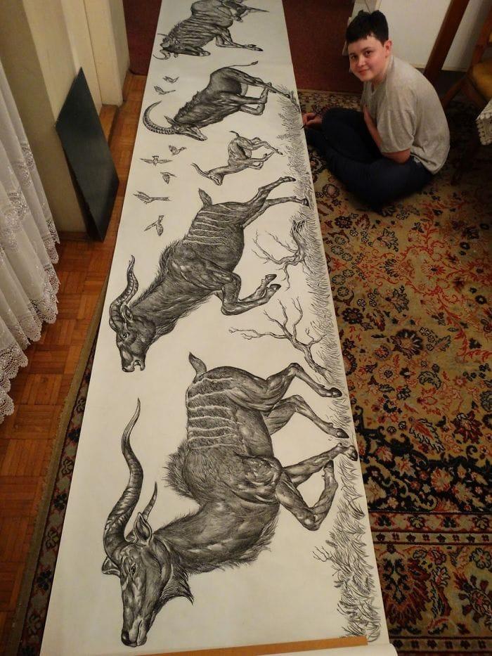 rhinoceros 5c756e3e5f887  700 - Этот сербский мальчик с 2 лет мечтал быть художником. Сейчас ему 16, и прогресс просто поразительный