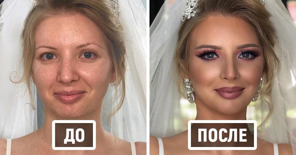 Визажист показывает фотографии невест до и после того, как они побывали в его волшебных руках