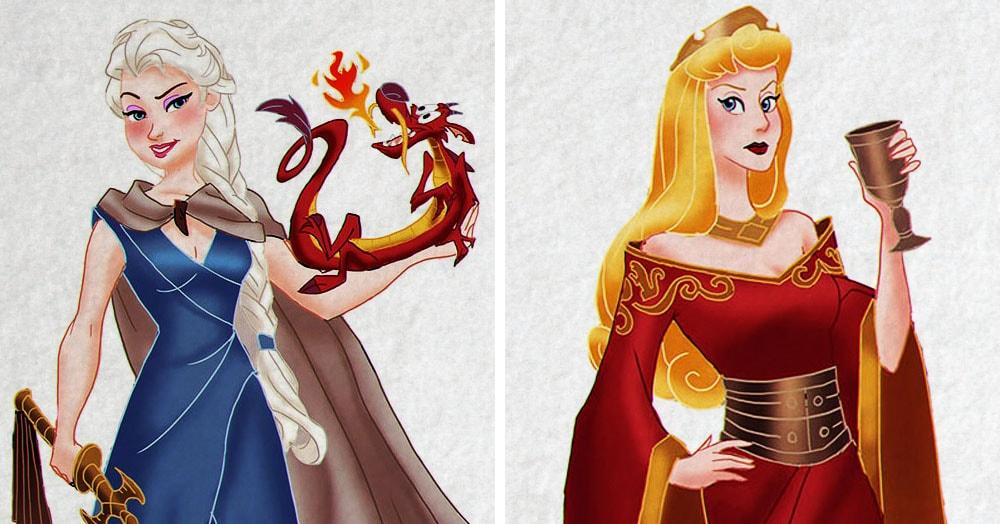 Художник представил, как выглядели бы диснеевские принцессы, будь они героинями «Игры престолов»