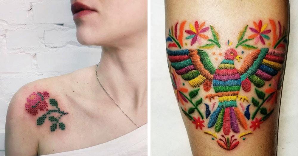 17 татуировок, на которых вышивки выглядят так же круто, как и на ткани