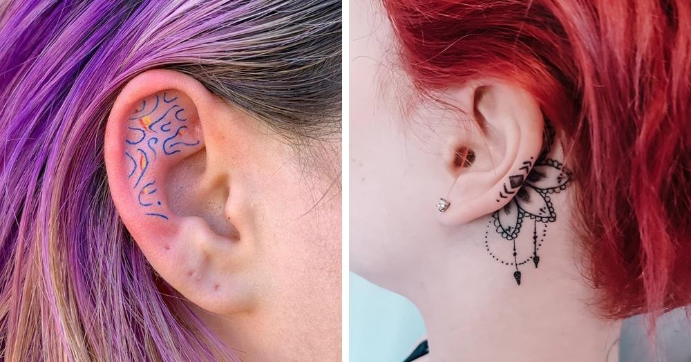 20 идей для изящных татуировок, которые украсят уши не хуже, чем серёжки