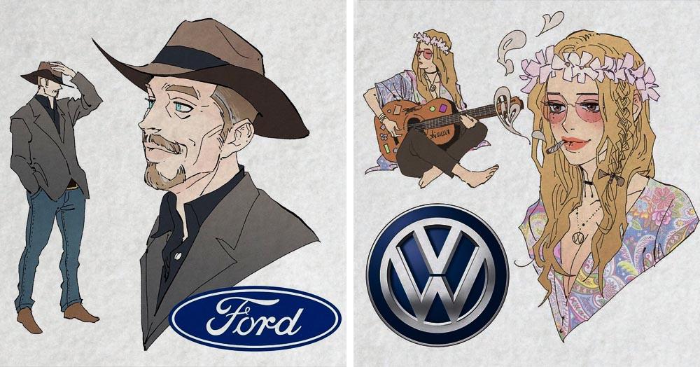 Художник представил, как выглядели бы известные марки автомобилей, будь они людьми