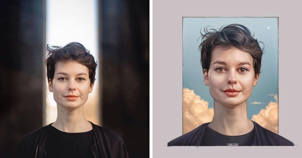 16 художников перерисовали портреты одного фотографа, показав, как по-разному они видят его работы