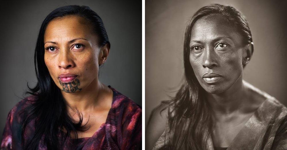Новозеландский фотограф показал, как выглядели бы маори без своих традиционных татуировок