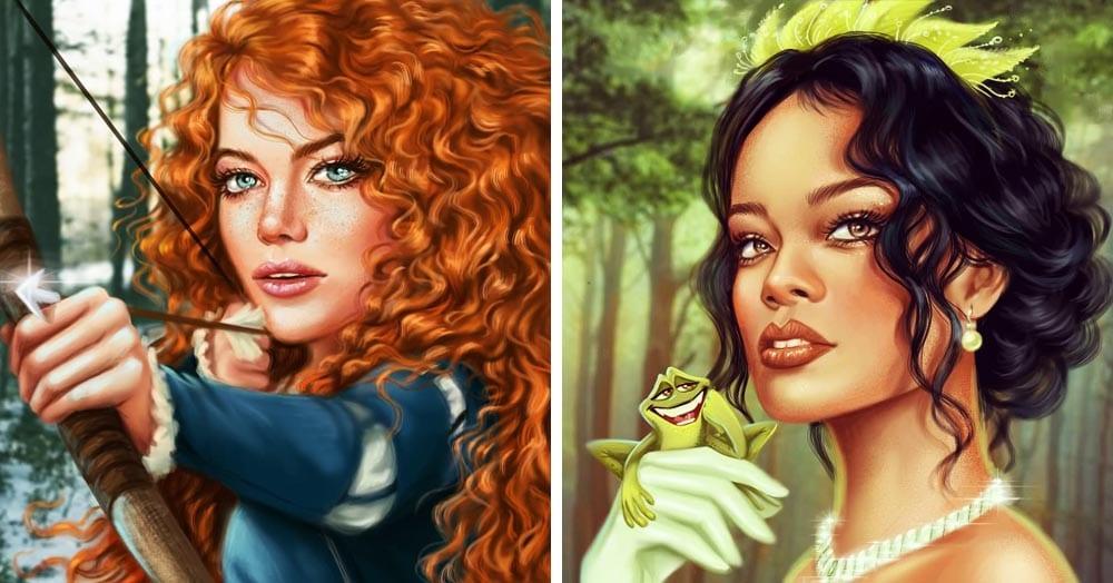 Художница представила, каких принцесс могли бы сыграть знаменитости в мире Диснея