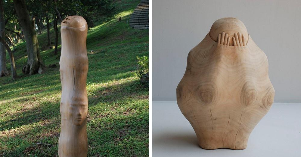Тайваньский художник создаёт пугающие скульптуры из дерева, в которых как будто застряли люди
