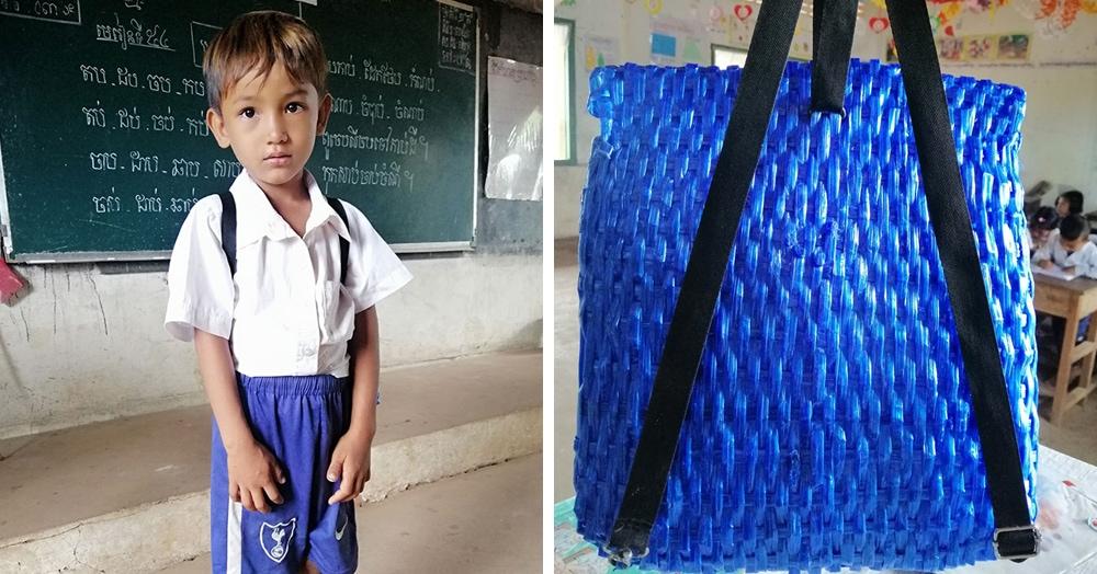 Папа из Камбоджи решил сделать рюкзак для сына своими руками. Получилось круто, а главное — душевно