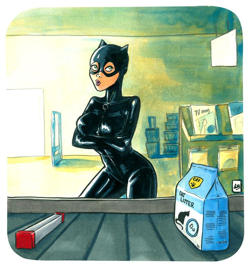 catwoman 5cfd7cb192dd8  880 - Художница из Франции представила, что герои мультфильмов и комиксов купили бы в супермаркете