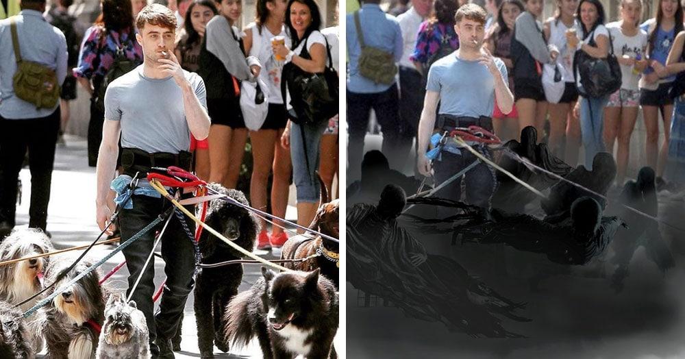 Дэниэл Рэдклифф на съёмках фильма вышел погулять с собаками и стал героем весёлой битвы фотошоперов