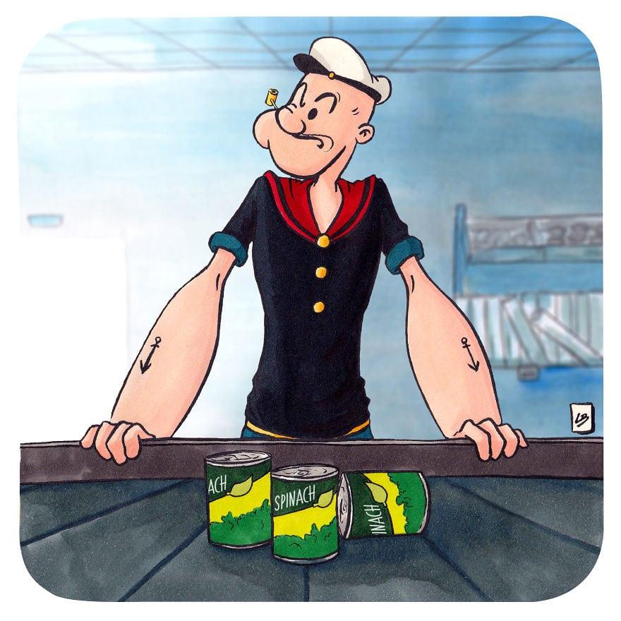 popeye 5cfd7e7796db4  880 - Художница из Франции представила, что герои мультфильмов и комиксов купили бы в супермаркете