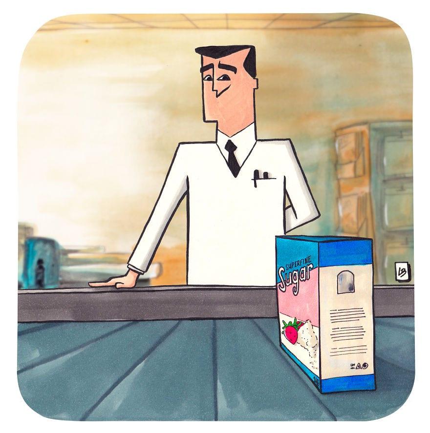 professeur 5cfd7ea417155  880 - Художница из Франции представила, что герои мультфильмов и комиксов купили бы в супермаркете