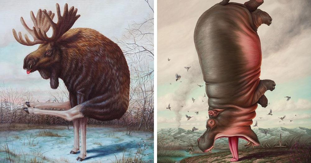 Художник из Франции представил, как выглядели бы животные, займись они йогой