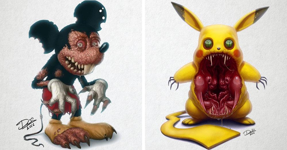 Шведский татуировщик представил, как выглядели бы добрые герои мультиков, будь они жуткими монстрами