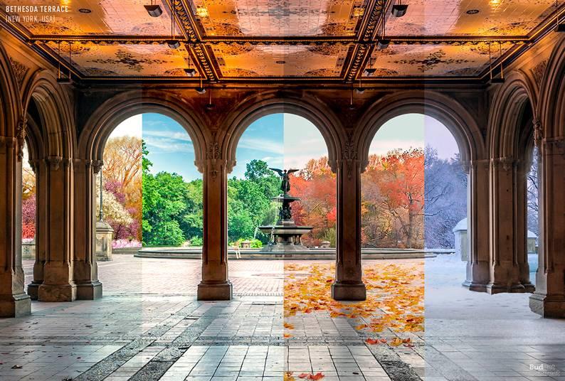 02 one photo four seasons bethesda terrace new york usa - Одно фото — четыре сезона: как меняются достопримечательности мира в каждое время года