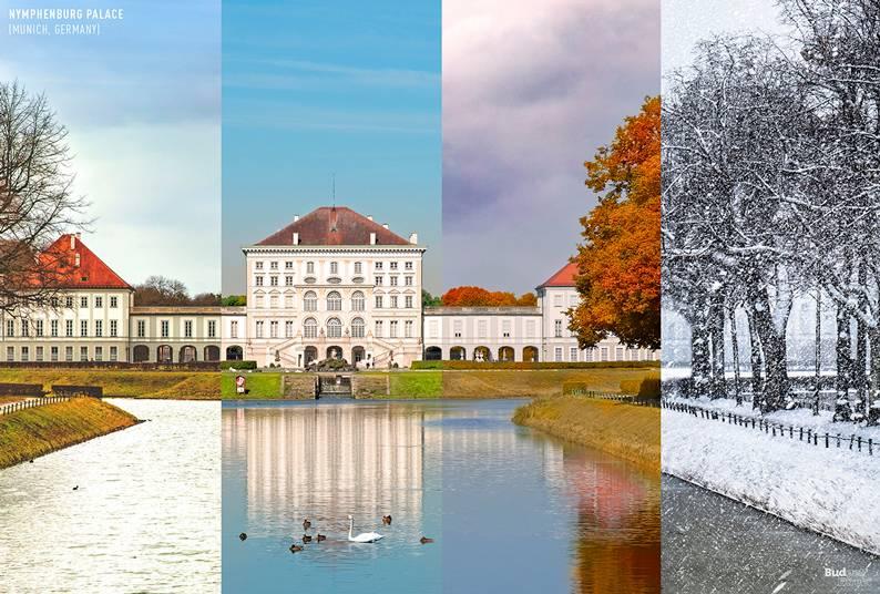 03 one photo four seasons schloss nymphenburg munich germany - Одно фото — четыре сезона: как меняются достопримечательности мира в каждое время года