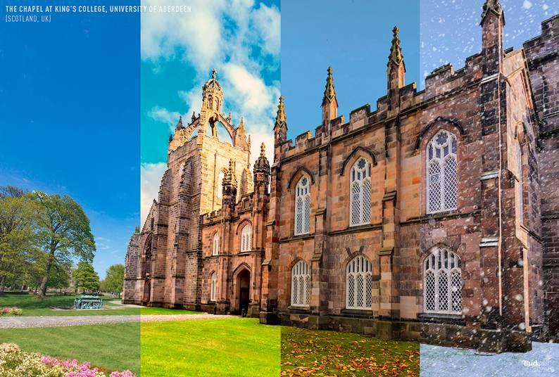 04 one photo four seasons kings college university of aberdeen scotland uk - Одно фото — четыре сезона: как меняются достопримечательности мира в каждое время года
