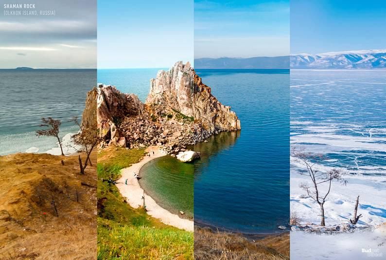 06 one photo four seasons shaman rock olkhon island russia - Одно фото — четыре сезона: как меняются достопримечательности мира в каждое время года