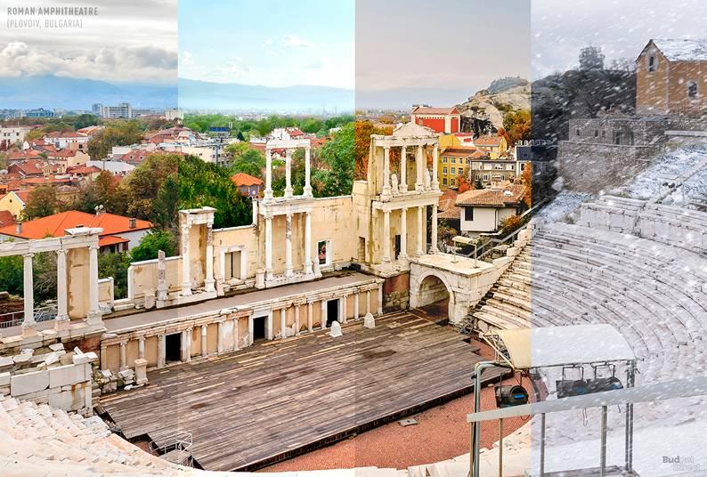 07 one photo four seasons roman amphitheatre plovdiv bulgaria - Одно фото — четыре сезона: как меняются достопримечательности мира в каждое время года