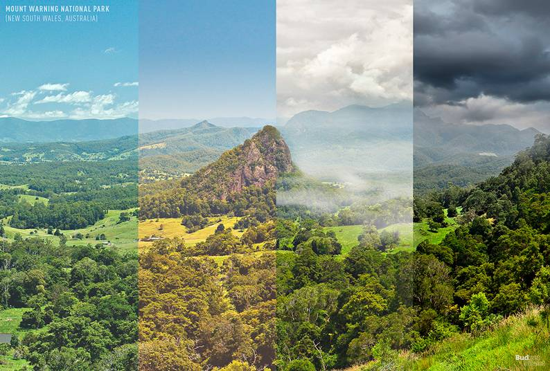 08 one photo four seasons mount warning national park new south wales australia - Одно фото — четыре сезона: как меняются достопримечательности мира в каждое время года