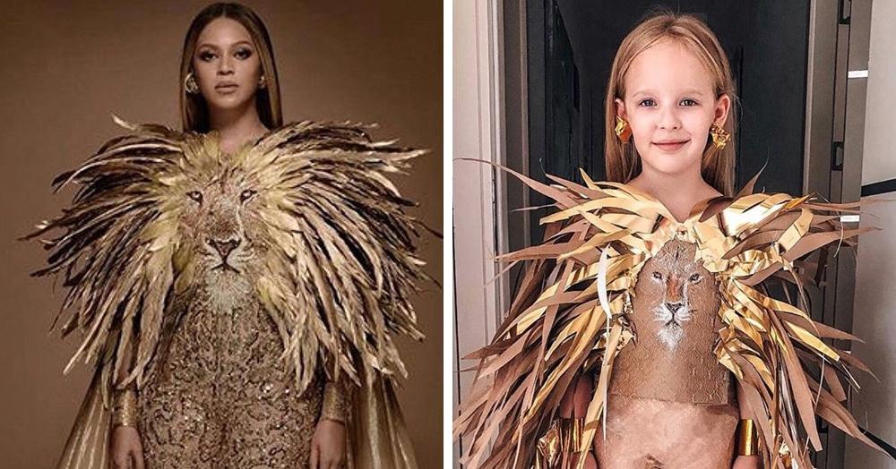 Девочка круто копирует звёзд, примеряя наряды,  которые её мама создаёт из подручных материалов
