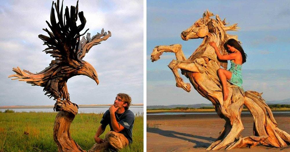 Художник из Вашингтона создаёт скульптуры из сухих деревяшек, от которых дух захватывает