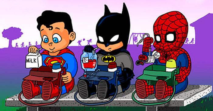 Бразильский художник представил, как 12 самых известных супергероев выглядели в детстве