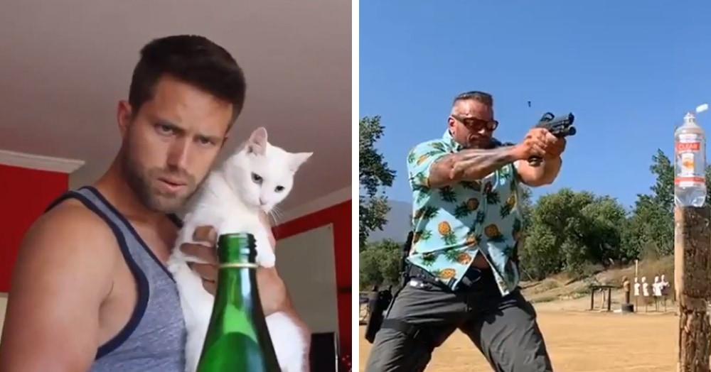 #BottleCapChallenge вышел на новый уровень: люди открывают бутылки с помощью котов, машин и оружия