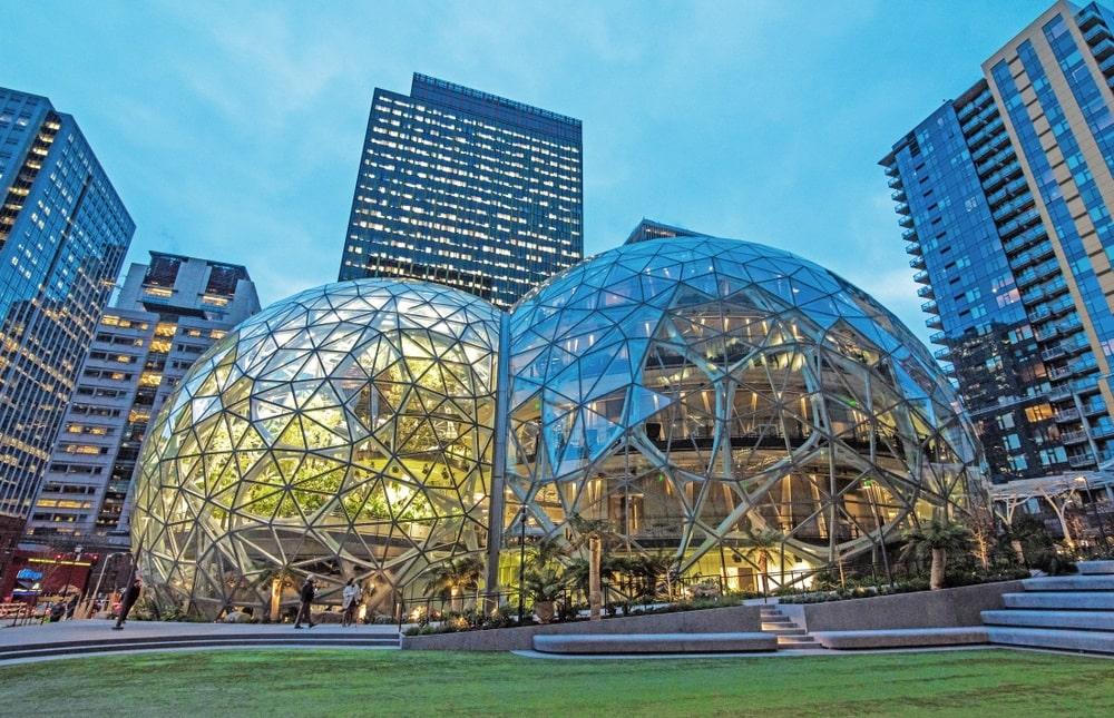 amazon headquarters heart - Как изменились здания офисов известных компаний. Фотографии в год основания и сейчас