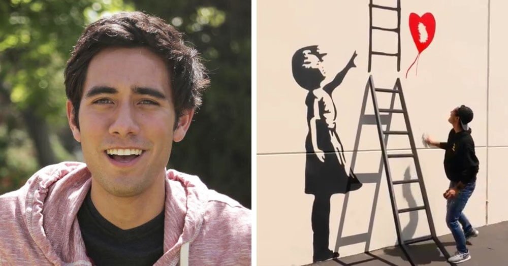 Видеомонтаж и Бэнкси: американец показал, как сбегает от охранника по нарисованной лестнице