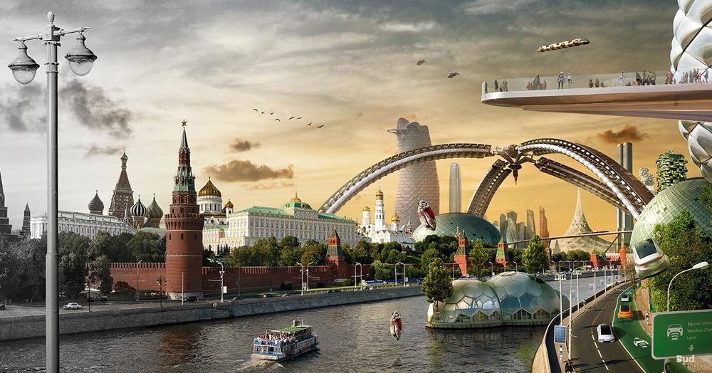 Художники создали серию работ, в которых показали сразу прошлое, настоящее и будущее мировых столиц