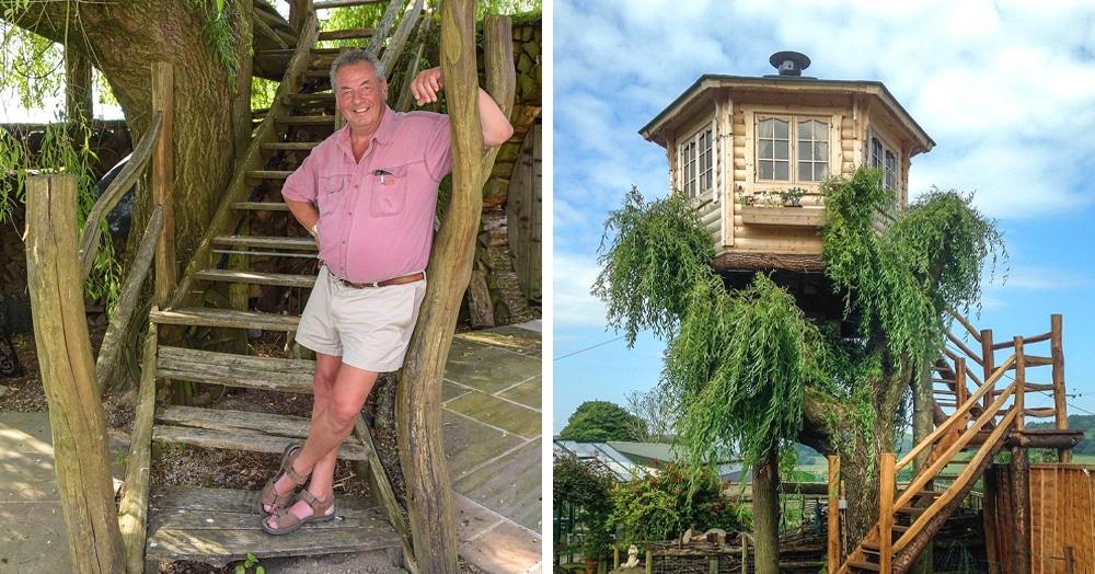 Британец хотел спилить дерево, но вид оттуда оказался так хорош, что он построил на нём домик