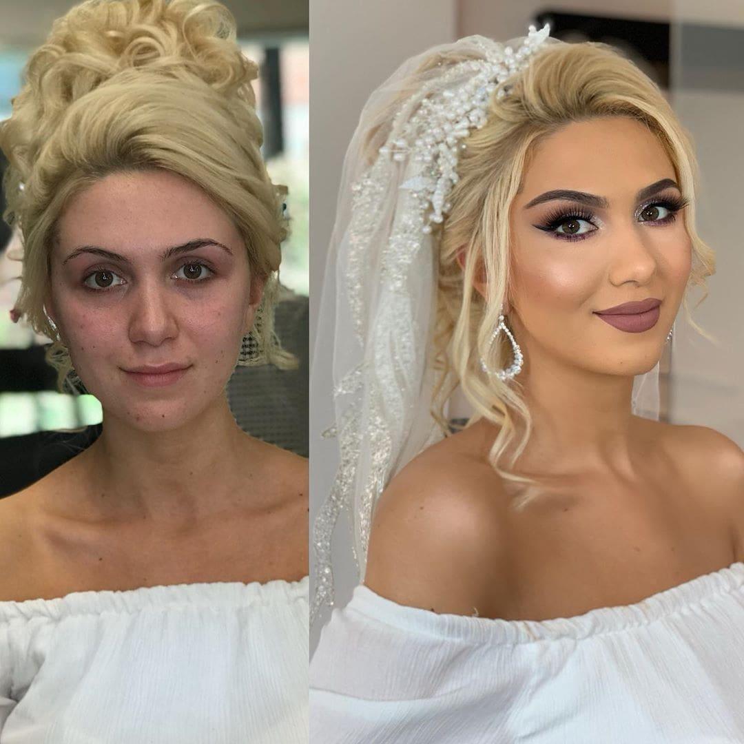1565271393 a383b0bda507d93eb68b3551128f3d2f - 18 прекрасных преображений до и после того, как невесты побывали в руках талантливого визажиста