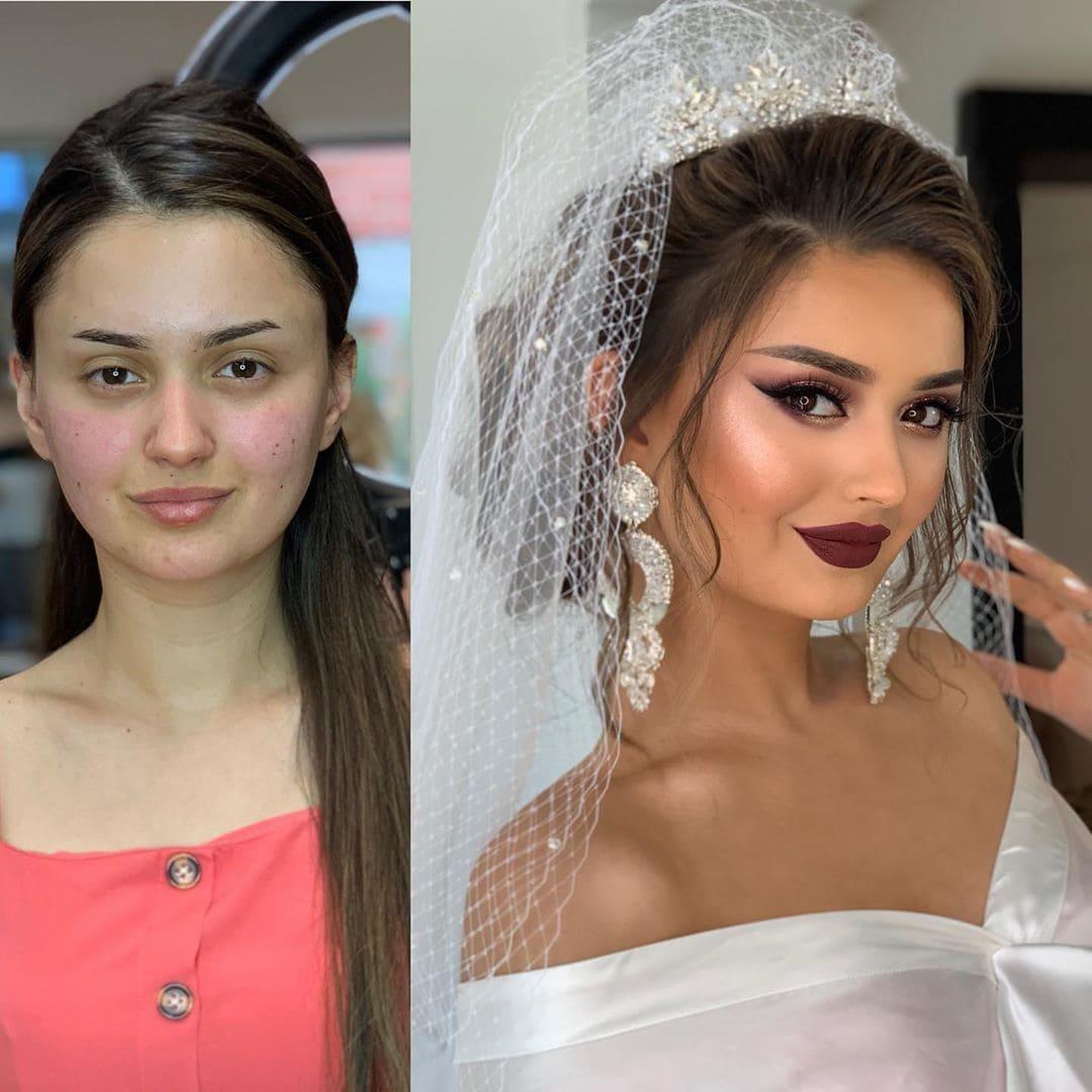 1565271393 c0b390dbb9100d99573f6dca30161586 - 18 прекрасных преображений до и после того, как невесты побывали в руках талантливого визажиста