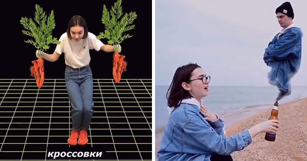 «Кроссовки как морковки» и «жим-жим, убираем жир»: девушка снимает рекламу, которая сносит крышу