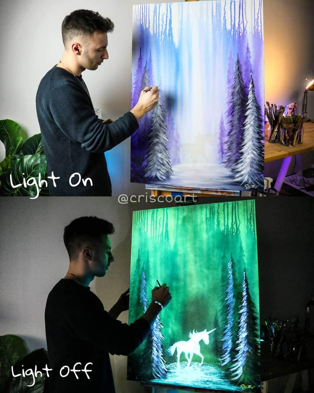 1566887365 c30527f459548837dcd942b55868f329 - 20 рисунков итальянского художника, которые оживают, когда выключается свет