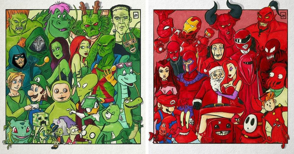 Художница из Франции объединила героев и злодеев мультфильмов по цветам и нарисовала крутые команды