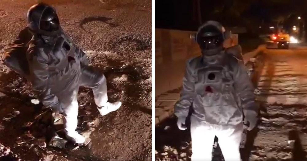 Художник из Индии снял видео, где будто бы ходит по Луне. Но это протест против очень плохих дорог