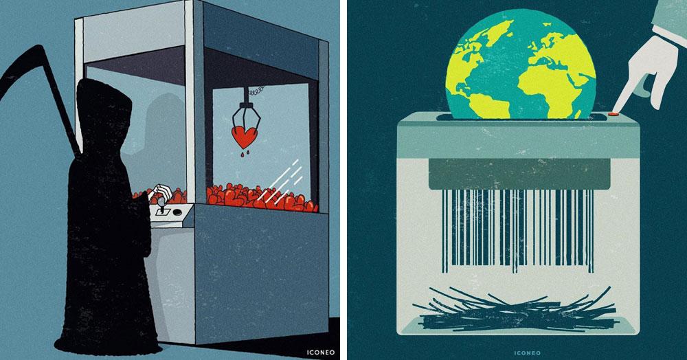17 иллюстраций от немецкого художника, который показывает беды и зависимости современного общества
