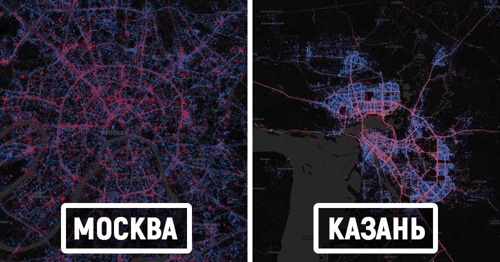 12 карт городов, где наглядно показано, сколько людей используют iPhone, а сколько — Android