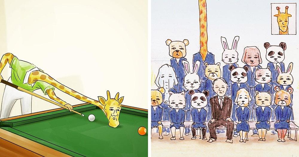 28 рисунков японского художника о сложной жизни человекообразных жирафов в мире людей