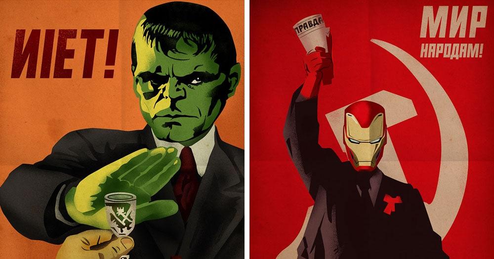 Дизайнер из Македонии представил, что будет, если объединить советские плакаты и героев комиксов