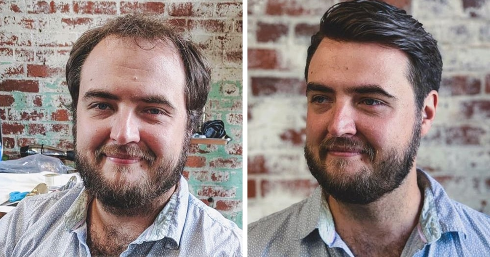 Парикмахер превращает лысины мужчин в шикарные причёски, и его клиенты от этого молодеют на глазах
