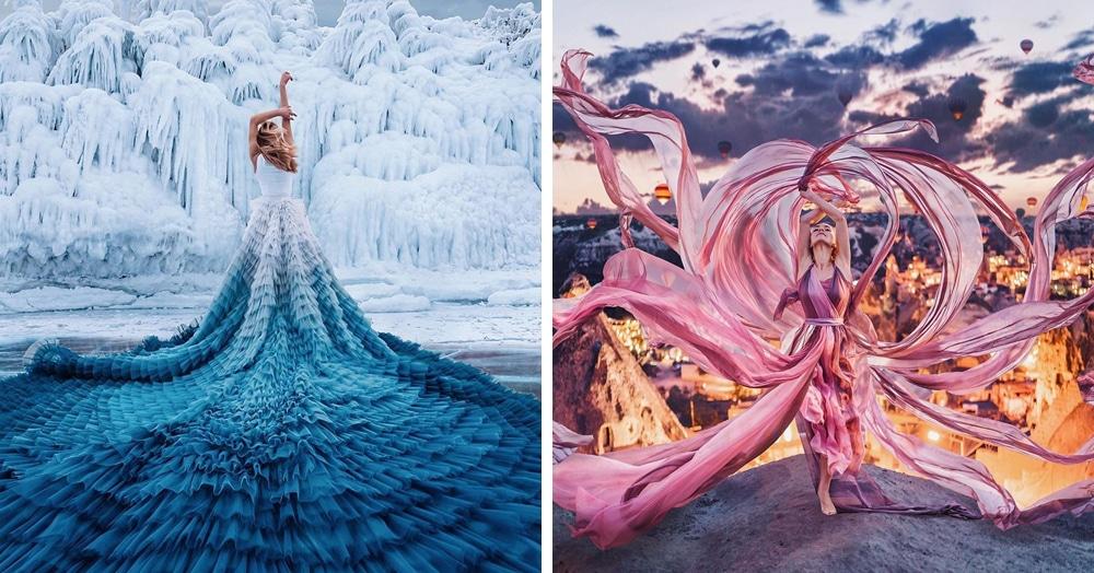 Фотограф снимает девушек в платьях на фоне шикарных видов, и её работы выглядят как сказка наяву